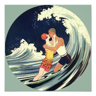 Vintage Art Deco Love Romantic Kiss Beach Wave Announcement