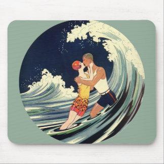 Vintage Art Deco Love Romantic Kiss Beach Wave Mousepad