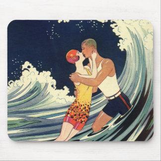 Vintage Art Deco Love Romantic Kiss Beach Wave Mousepads