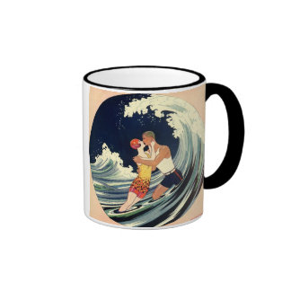 Vintage Art Deco Love Romantic Kiss Beach Wave Mug