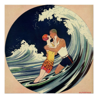 Vintage Art Deco Love Romantic Kiss Beach Wave Poster