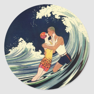 Vintage Art Deco Love Romantic Kiss Beach Wave Round Sticker