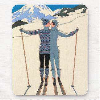 Vintage Art Deco Love Romantic Kiss on Skis Snow Mouse Pads