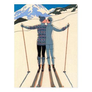 Vintage Art Deco Love Romantic Kiss on Skis Snow Postcard