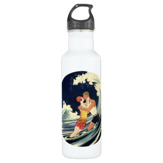 Vintage Art Deco Lovers Kiss in the Waves at Beach 710 Ml Water Bottle