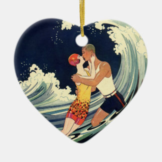 Vintage Art Deco Lovers Kiss in the Waves at Beach Ceramic Heart Decoration