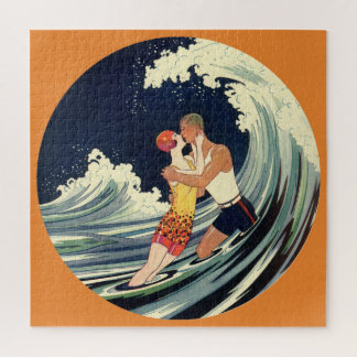 Vintage Art Deco Lovers Kiss in the Waves at Beach Jigsaw Puzzle