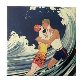 Vintage Art Deco Lovers Kiss in the Waves at Beach Small Square Tile