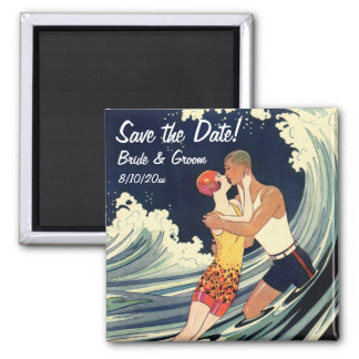 Vintage Art Deco Lovers Kiss Wedding Save the Date Square Magnet