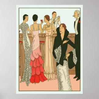 Vintage Art Deco Martini Party Print
