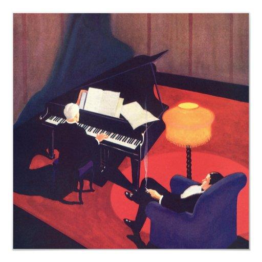Vintage Art Deco Music Pianist Piano Player Lounge 13 Cm X 13 Cm Square Invitation Card