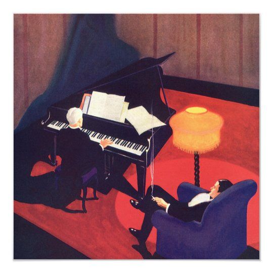 Vintage Art Deco Music Pianist Piano Player Lounge Card