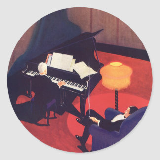 Vintage Art Deco Music Pianist Piano Player Lounge Classic Round Sticker
