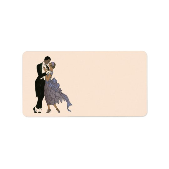 Vintage Art Deco Newlyweds, Bride and Groom Dance Address Label