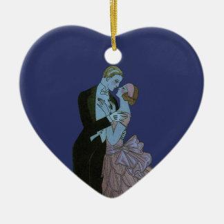 Vintage Art Deco, Newlyweds Love Wedding Dance Christmas Tree Ornament