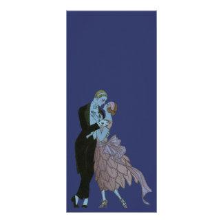 Vintage Art Deco Newlyweds Love Wedding Dance Custom Rack Card