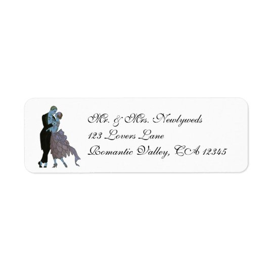 Vintage Art Deco Newlyweds, Love Wedding Dance Return Address Label