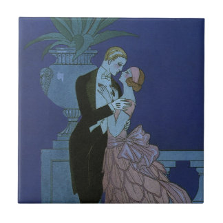 Vintage Art Deco Newlyweds, Oui by George Barbier Small Square Tile