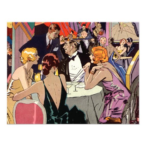 Vintage Art Deco Nightclub Cocktail Party Personalized Announcement