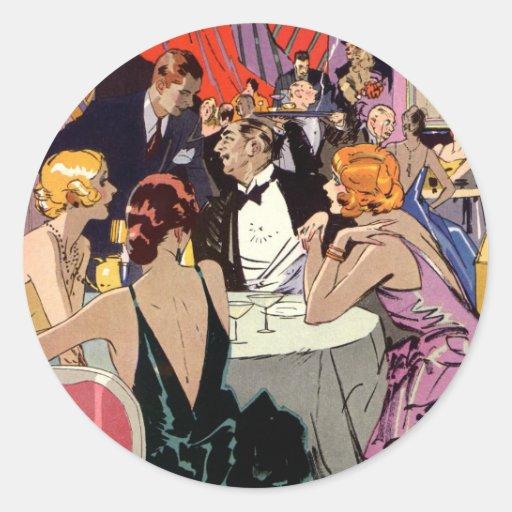 Vintage Art Deco Nightclub Cocktail Party Round Sticker