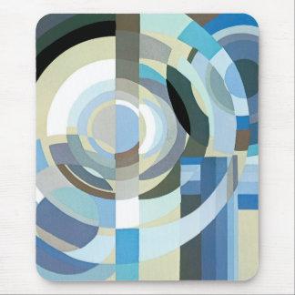 Vintage Art Deco Pochoir Blue Jazz Geometric Shape Mouse Pad