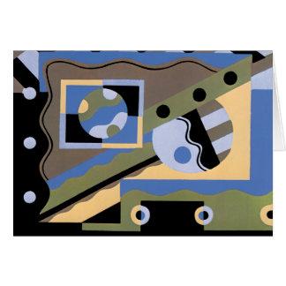 Vintage Art Deco Pochoir Jazz Cubism Pattern Card