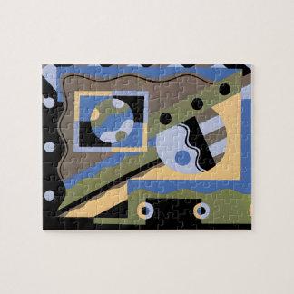 Vintage Art Deco Pochoir Jazz Cubism Pattern Jigsaw Puzzle