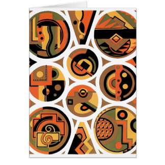 Vintage Art Deco Pochoir Jazz Geometric Circles Card