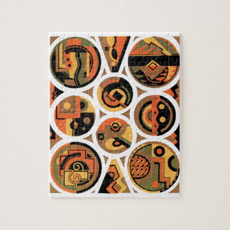 Vintage Art Deco Pochoir Jazz Geometric Circles Jigsaw Puzzle