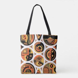 Vintage Art Deco Pochoir Jazz Geometric Circles Tote Bag