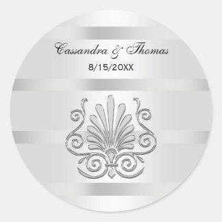 Vintage Art Deco Silver Plume R Envelope Seals Round Sticker