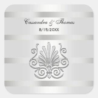 Vintage Art Deco Silver Plume SQ Envelope Seals Square Sticker
