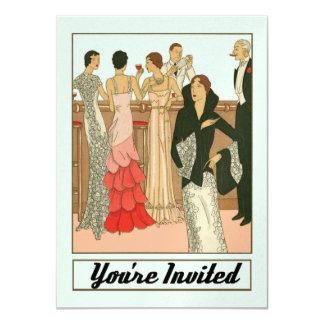 Vintage Art Deco Sophisticated Anniversary Party Card