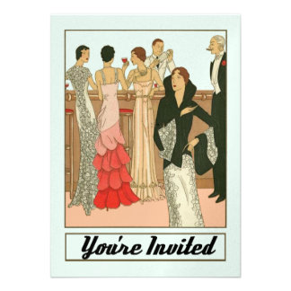 Vintage Art Deco Sophisticated Anniversary Party Personalized Invites
