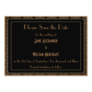 Vintage Art Deco Style Fans Wedding Save the Date 11 Cm X 16 Cm Invitation Card