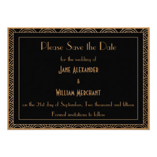 Vintage Art Deco Style Fans Wedding Save the Date Custom Invite