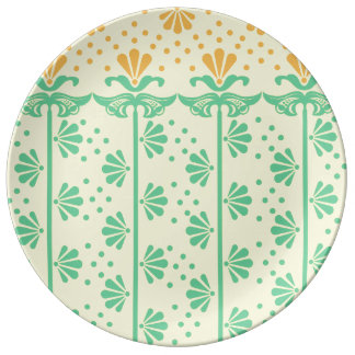 Vintage Art-deco Stylized-flowers floral Pattern Plate
