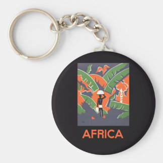 Vintage Art Deco Travel Poster, African Jungle Keychains