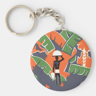 Vintage Art Deco Travel Poster, African Jungle Key Chain
