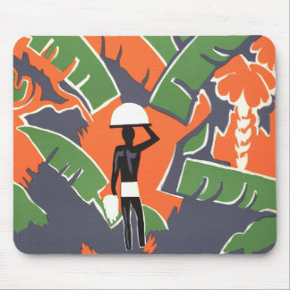 Vintage Art Deco Travel Poster, African Jungle Mouse Pad