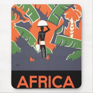 Vintage Art Deco Travel Poster, African Jungle Mousepad