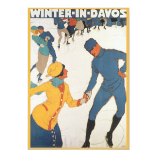 Vintage Art Deco Travel Winter in Davos Invitation