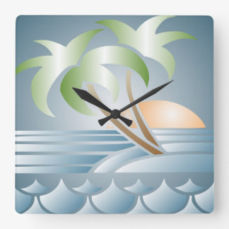 Vintage Art Deco Tropical Beach Wall Clock