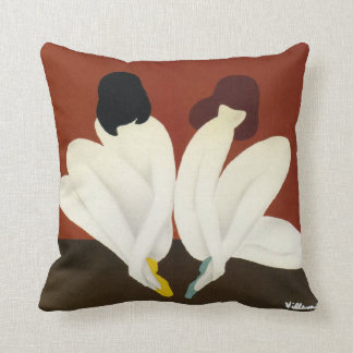 Vintage Art Deco Villemot/ Bally Lotus Cushion