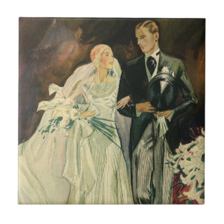 Vintage Art Deco Wedding Bride and Groom Newlyweds Small Square Tile