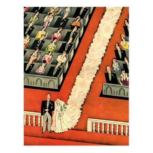 Vintage Art Deco Wedding, Bride Groom Newlyweds Post Cards