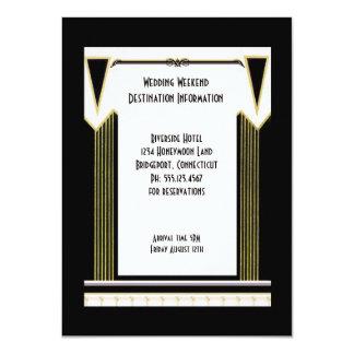 Vintage Art Deco Wedding Destination Insert 11 Cm X 16 Cm Invitation Card