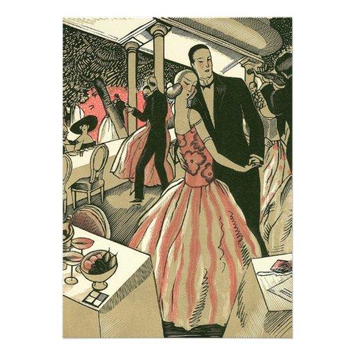Vintage Art Deco Wedding, Newlyweds First Dance Custom Announcements