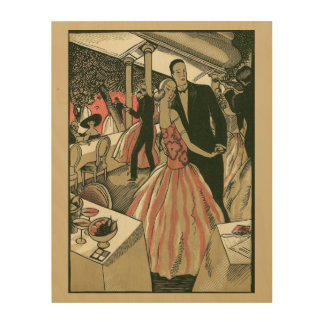 Vintage Art Deco Wedding Newlyweds First Dance Wood Canvases
