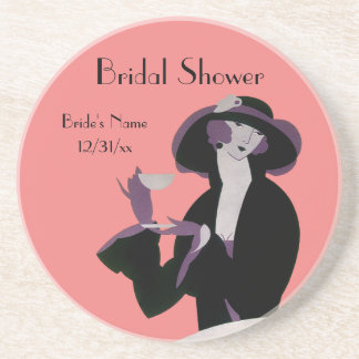 Vintage Art Deco Woman, Afternoon Tea and Cupcake Coaster